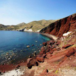 photo of red beach, The Island of Lava, travel & discover mysterious Greece