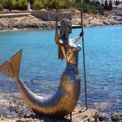 photo of mermaid statue at palio limani, One Million Words, travel & discover mysterious Greece