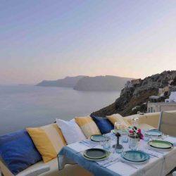 photo of dinner at ilivatos villa, Ilivatos Villa: On the edge of the Caldera, travel & discover mysterious Greece