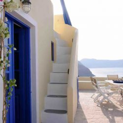 photo of staircase to the guestroom of ilivatos villa, Ilivatos Villa: On the edge of the Caldera, travel & discover mysterious Greece